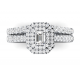 Emerald cut double halo ring