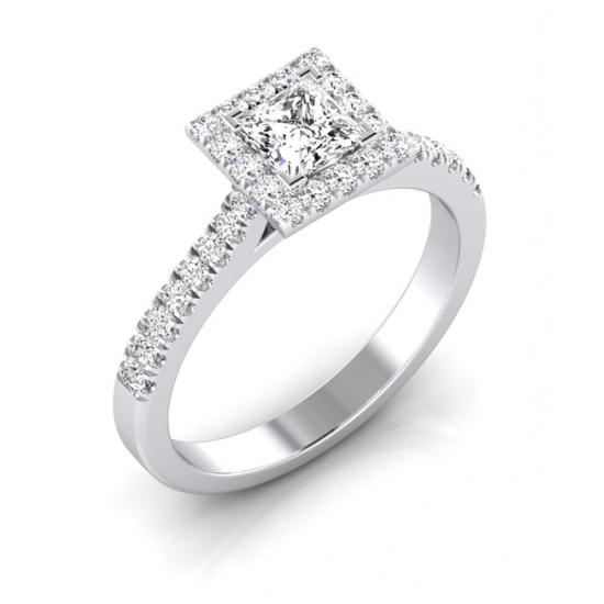 Princess-cut halo ring