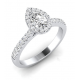 Pear-shaped halo ring