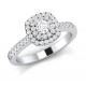 Cushion double halo round brilliant ring