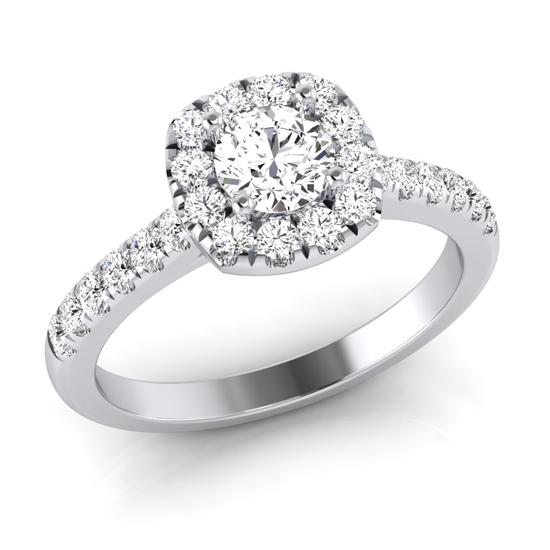 Cushion halo round brilliant ring